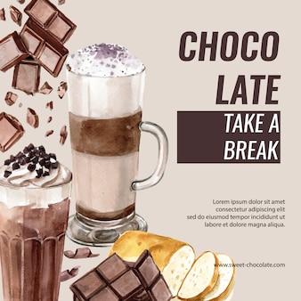 Banner styling cacao template zucchero da dessert