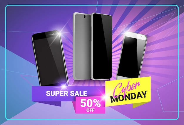 Banner super sale cyber monday sconti sul design moderno di telefoni intelligenti