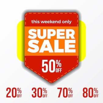 Banner super sale questo fine settimana sconto fino al 50%