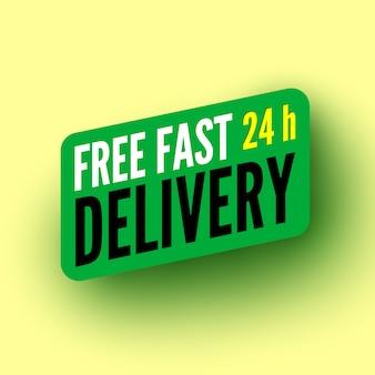 Banner verde consegna veloce ore gratuite. illustrazione.