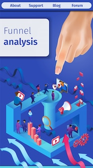 Banner verticale di analisi dell'imbuto di vendita efficace.