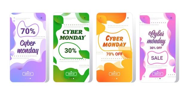 Banner verticale di cyber monday o set di storie di instagram