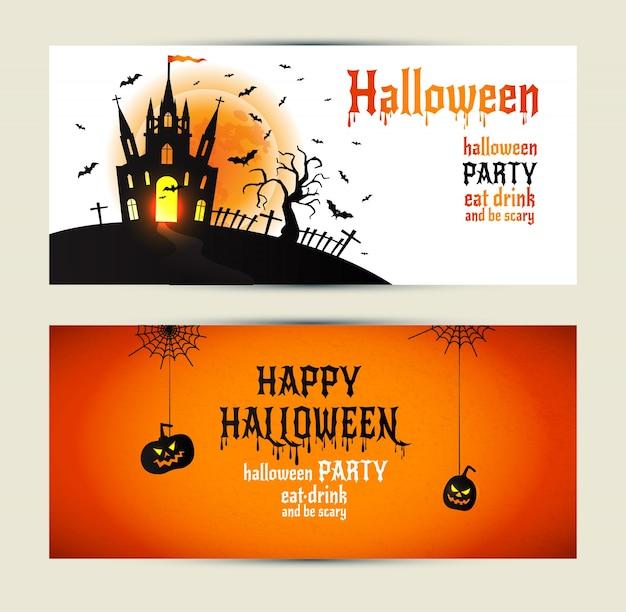 Banner verticale di halloween impostato su sfondo arancione e bianco