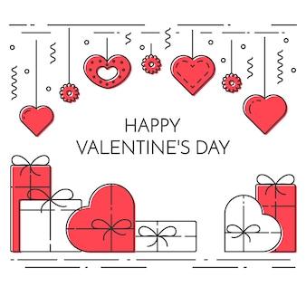 Banner verticale di linea per il tema di san valentino e la data.
