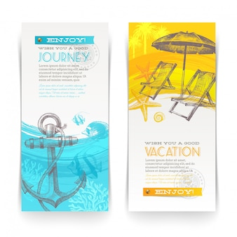 Banner verticale di vacanze e viaggi con elementi disegnati a mano. illustrazione.