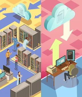 Banner verticale isometrica del centro informazioni con personale che ospita servizi cloud di server e trasferimento