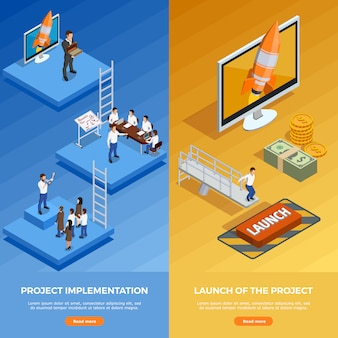 Banner verticale isometrica di strategia aziendale