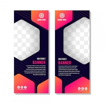 Banner verticale modello di progettazione del layout. moderno creativo con spazio esagonale per collage di foto