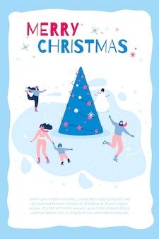 Banner verticale piatto marry christmas in blue frame