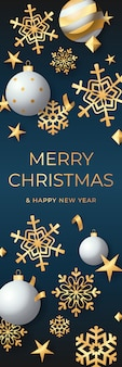 Banner verticale vacanza con decorazioni natalizie