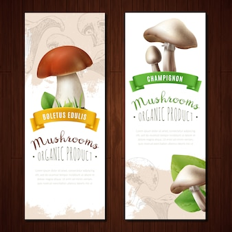 Banner verticali di funghi biologici
