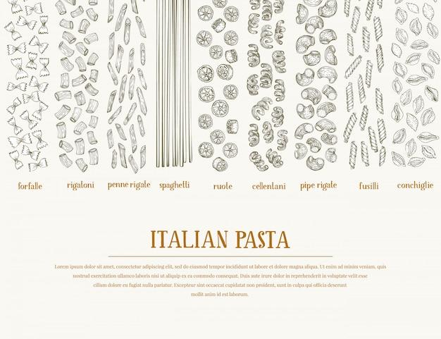 Banner vettoriale con diversi tipi di pasta tradizionale italiana.