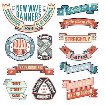 Banner vintage, nastri, adesivi, con esempi di iscrizioni. loghi retrò forma insolita.