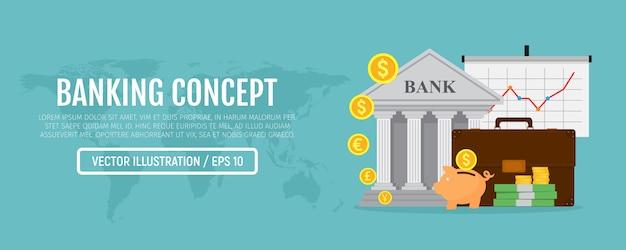 Banner web aziendale infografica. concetto bancario.