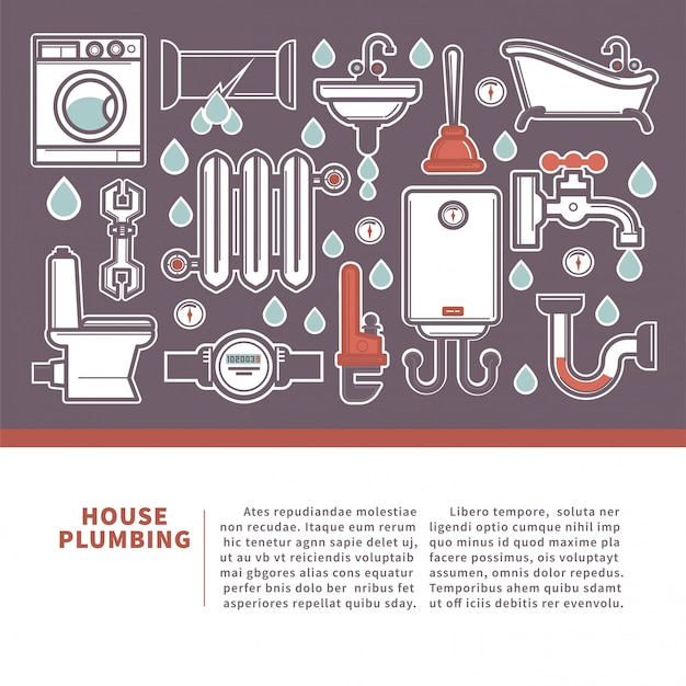Banner web casa idraulico per servizi di riparazione di promozione.