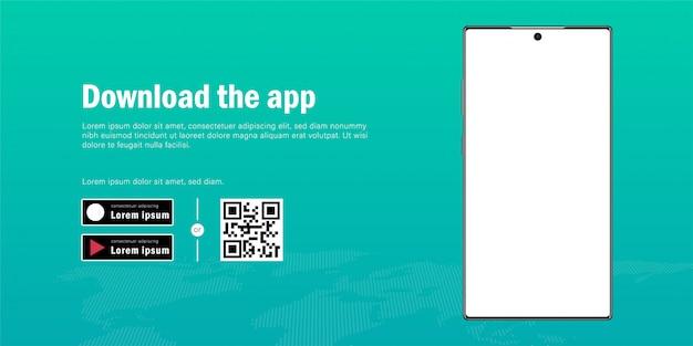 Banner web del modello di smartphone mobile con pubblicità per il download dell'app, il codice qr e il modello di pulsanti