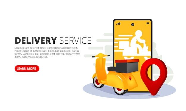 Banner web del servizio di consegna online. app mobile per la consegna illustrazione vettoriale.