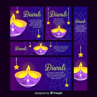 Banner web design piatto diwali