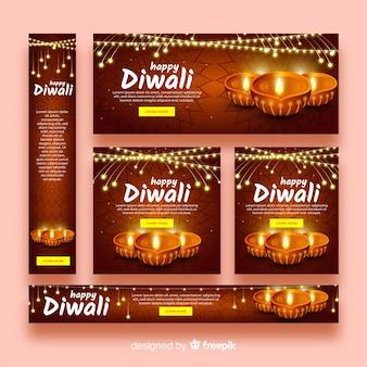 Banner web design realistico di diwali
