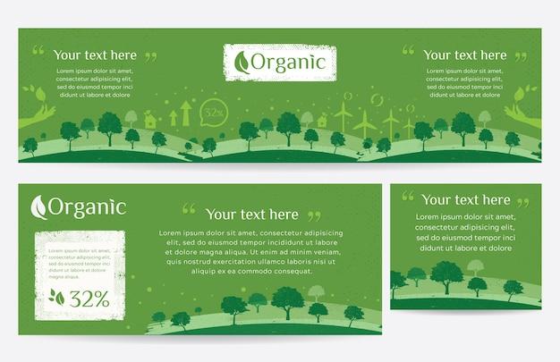 Banner web di ambiente verde pulito con stile grunge