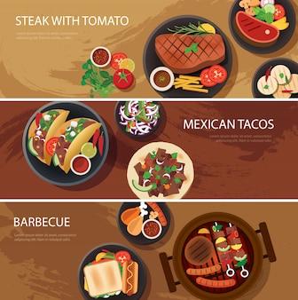 Banner web di cibo di strada, bistecca, tacos messicani, barbecue