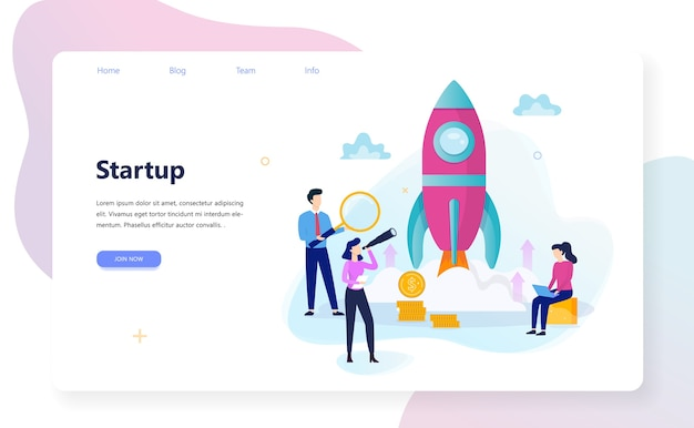 Banner web di concetto di avvio e lavoro di squadra. profitto aziendale