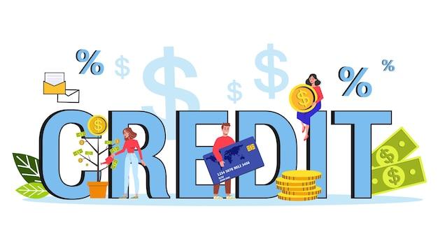Banner web di concetto di credito. idea di sistema bancario e di pagamento. tecnologia finanziaria. illustrazione