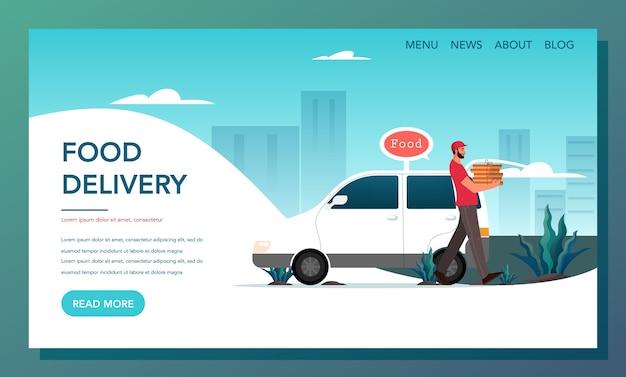 Banner web di consegna cibo. concetto di consegna online. ordina in internet e attendi il corriere. pagina di destinazione della consegna di cibo.