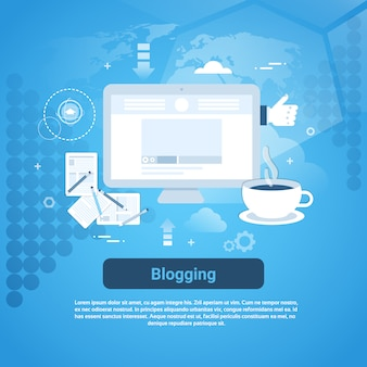 Banner web di gestione dei blog con spazio di copia