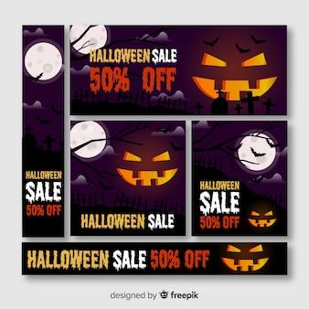 Banner web di halloween con grande zucca intagliata
