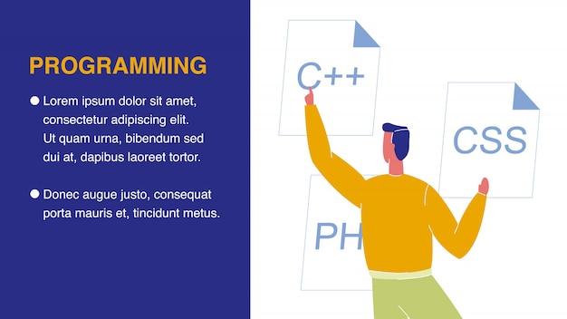 Banner web di programmazione con spazio testo