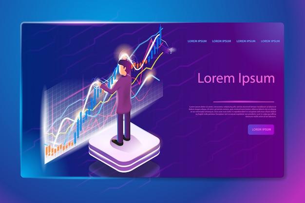 Banner web di servizio di analitica finanziaria vettoriale