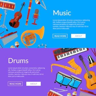 Banner web di strumenti musicali dei cartoni animati