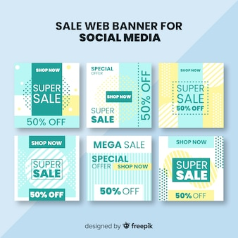 Banner web di vendita per la raccolta di social media
