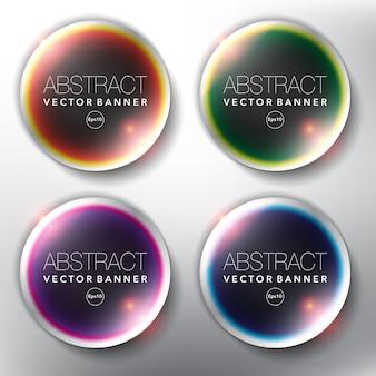 Banner web di vetro set di 4. isolato sul pannello bianco.