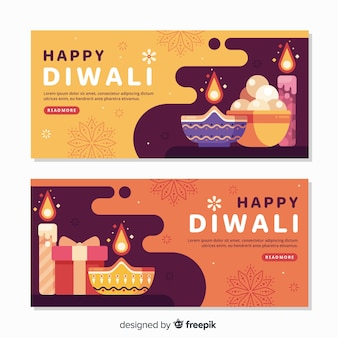 Banner web diwali in design piatto