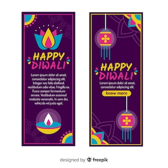 Banner web diwali in design piatto