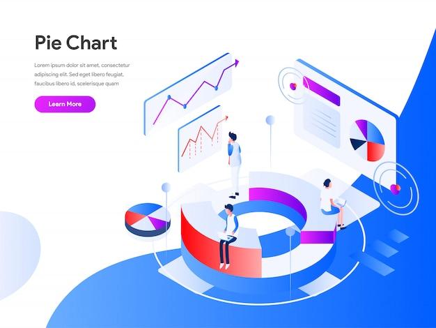 Banner web isometrica del grafico a torta