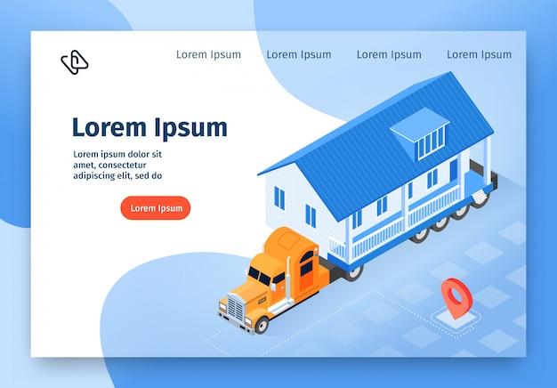 Banner web isometrica di vettore di consegna casa modulare
