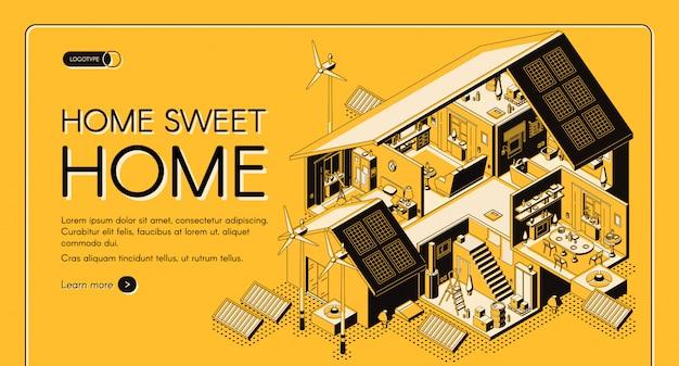 Banner web isometrico di casa di energia autosufficiente di energia, pagina di destinazione.