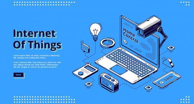 Banner web isometrico di internet of things, iot.