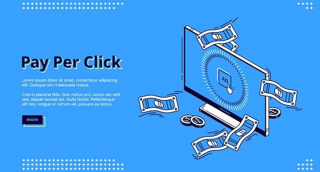 Banner web isometrico pubblicitario pay-per-click