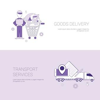 Banner web modello di consegna merci e servizi di trasporto
