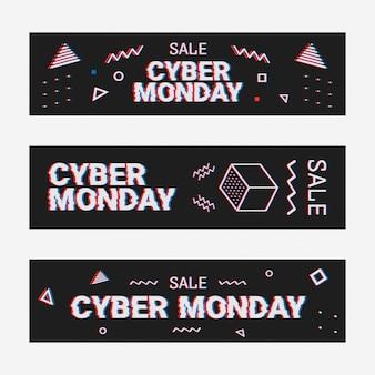 Banner web modello geometrico impostato per offerta cyber lunedì. design promozionale in stile glitch con particelle geometriche per la cyber sale. memphis glitch. stile pixel art a 8 bit.
