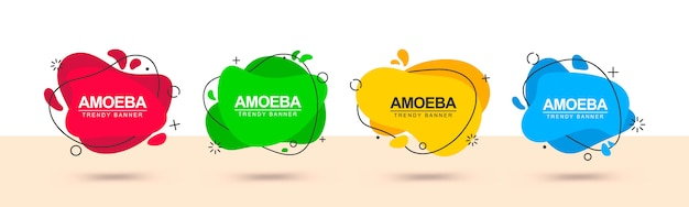 Banner web moderno di forme astratte rosse, verdi, gialle e blu