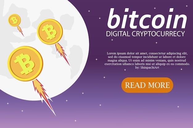 Banner web orizzontale con bitcoin vai alla luna