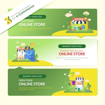 Banner web per l'e-commerce in 3 set di bundle