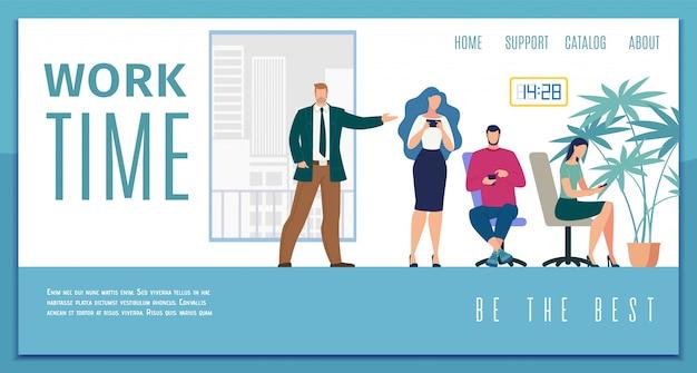 Banner web piatto di efficienza dell'orario di lavoro