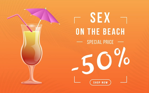 Banner web prezzo speciale cocktail estivo