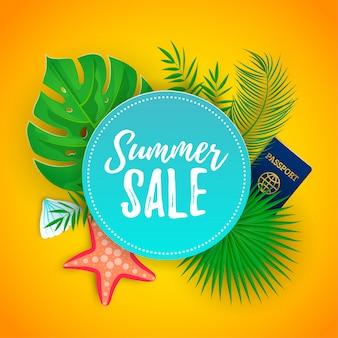 Banner web promozionale di vendita estiva decorare con foglie di palma tropicale, stella marina, conchiglia, passaporto. modello del fondo di progettazione di sconto di turismo del buono. illustrazione